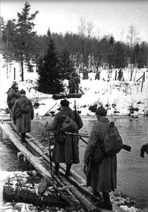 November 30, 1939. Soviet troops crossing Rajajoki River