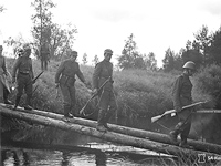 September 1941. Finnish troops crossing Rajajoki River