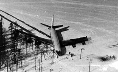 April 21, 1978. Boeing-707 on the ice of Korpijärvi Lake