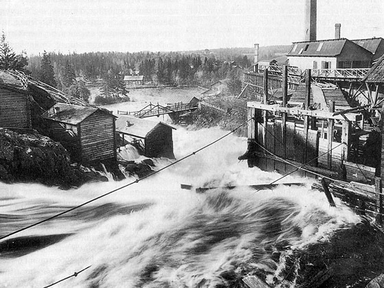1920's. The Läskelänkoski Rapids in the Jänisjoki River and the factories of Läskelä