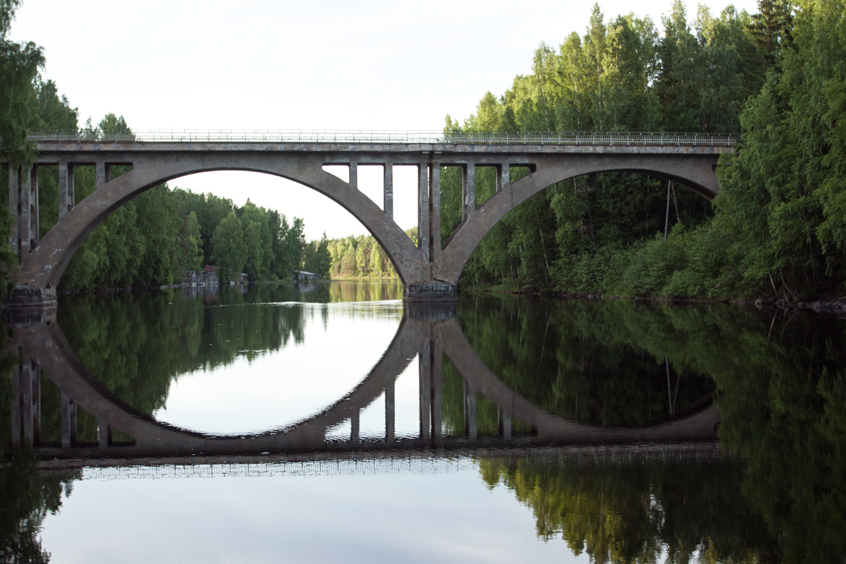 June 23, 2013. Railway Bridge across the Jänisjoki River