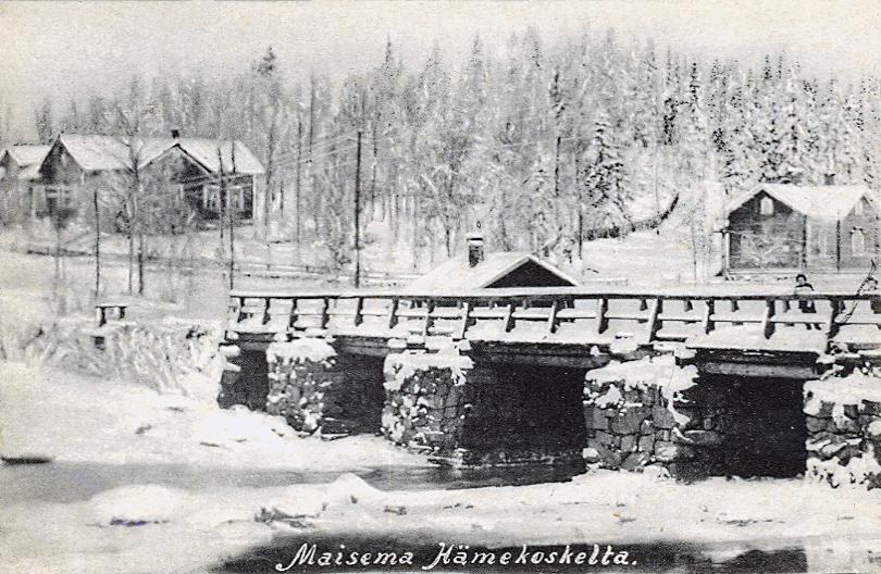 Early 1910's. Hämekoski. Bridge across the Jänisjoki River