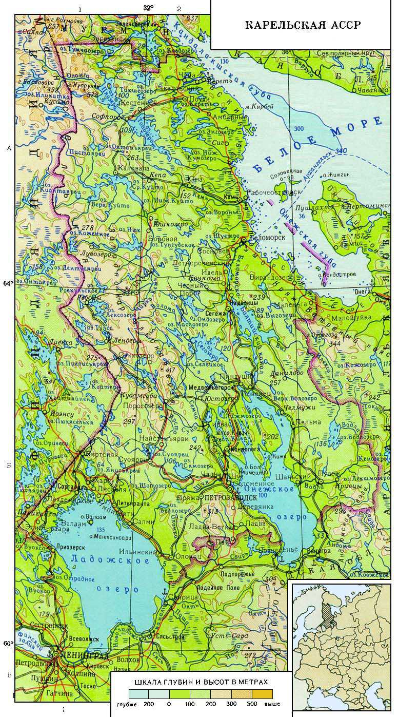 1969. The map of the Karelian ASSR