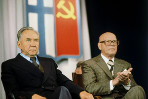 September 16, 1978. President of Finland Urho Kaleva Kekkonen and chairman of the Council of Ministers of the USSR Aleksey Kosygin in the Finnish Drama Theater