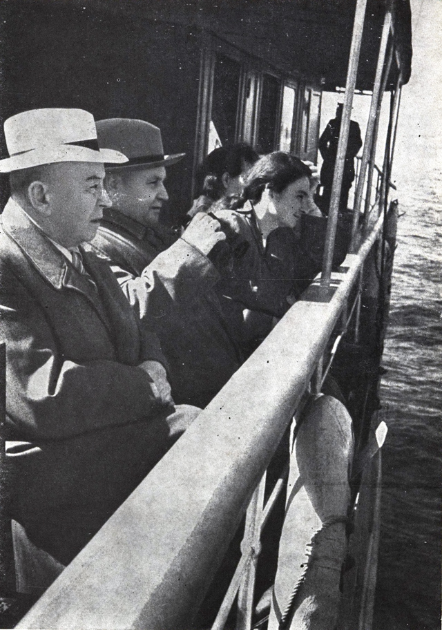 1948. Chairman of the Presidium of the Supreme Soviet of the Karelian-Finnish SSR O.W.Kuusinen jaunt on the Onego Lake