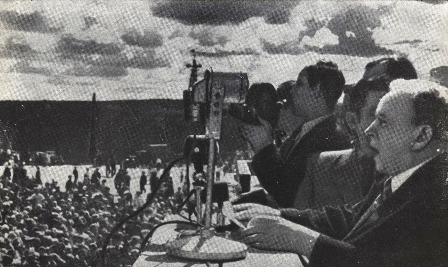 1948. Petrozavodsk. Kirov square. Chairman of the Presidium of the Supreme Soviet of the Karelian-Finnish SSR O.W.Kuusinen made a speech on the meeting