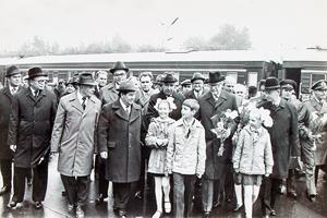 16 сентября 1978 года. Президент Финляндии Урхо Калева Кекконен и Председатель Совета министров СССР Алексей Косыгин на Петрозаводском вокзале
