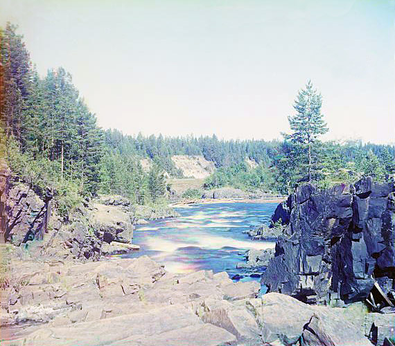 1915. Suna River. Por-Porog Waterfalls