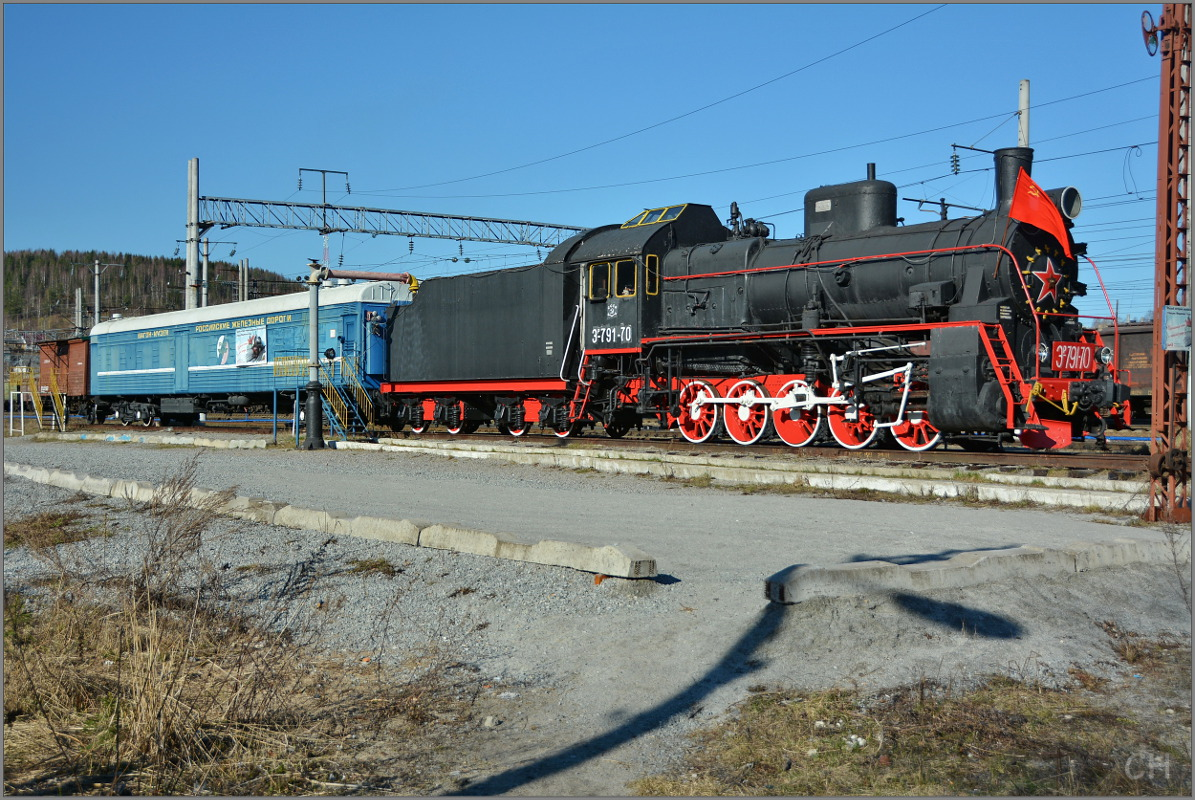May 6, 2015. Medvezhegorsk. Steam locomotive ER−791-70
