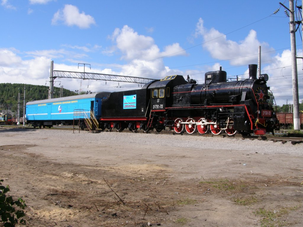 August 3, 2008. Medvezhegorsk. Steam locomotive ER−791-70