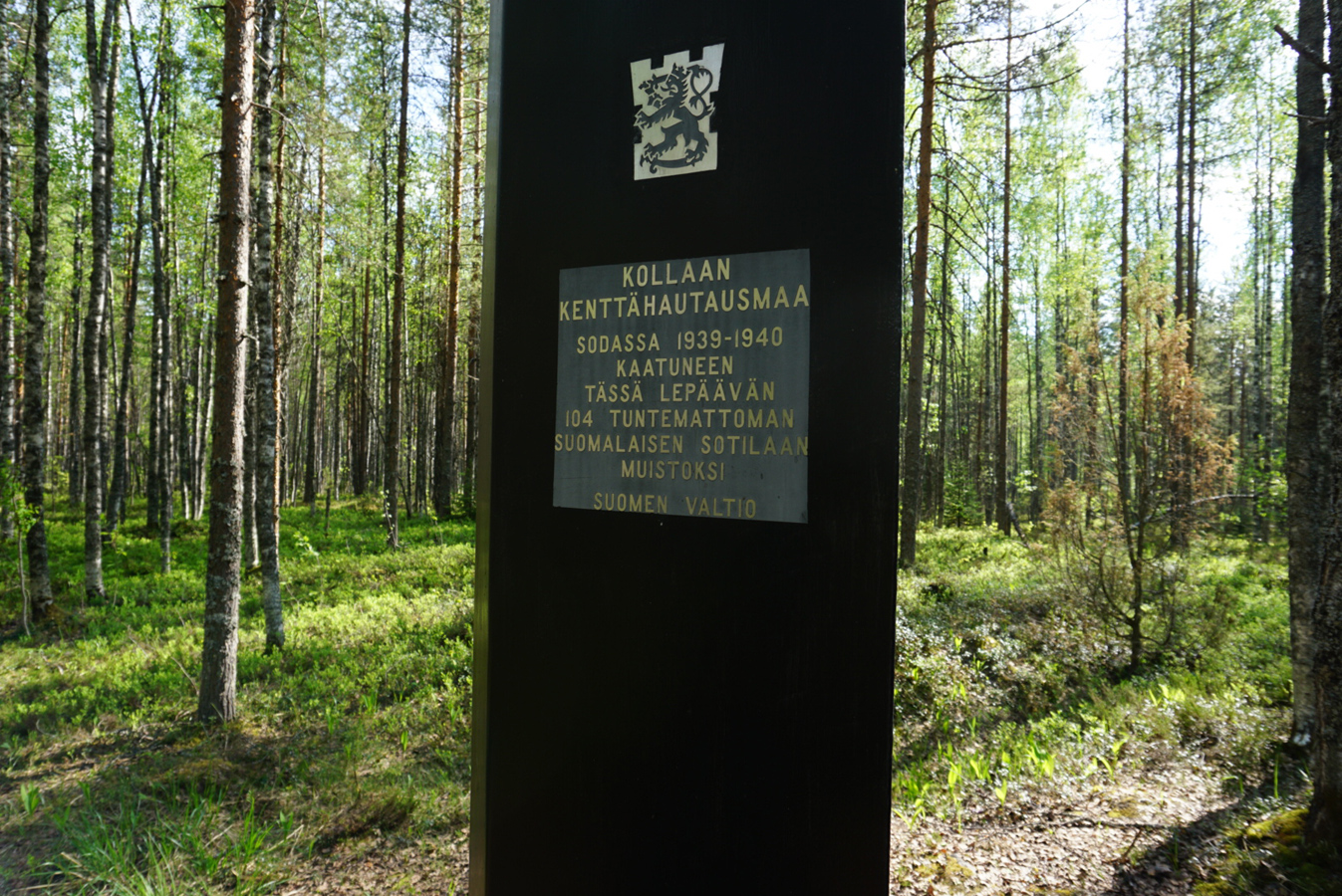 May 2018. Kollasjärvi. The memorial to Finnish warriors of 1939-1940