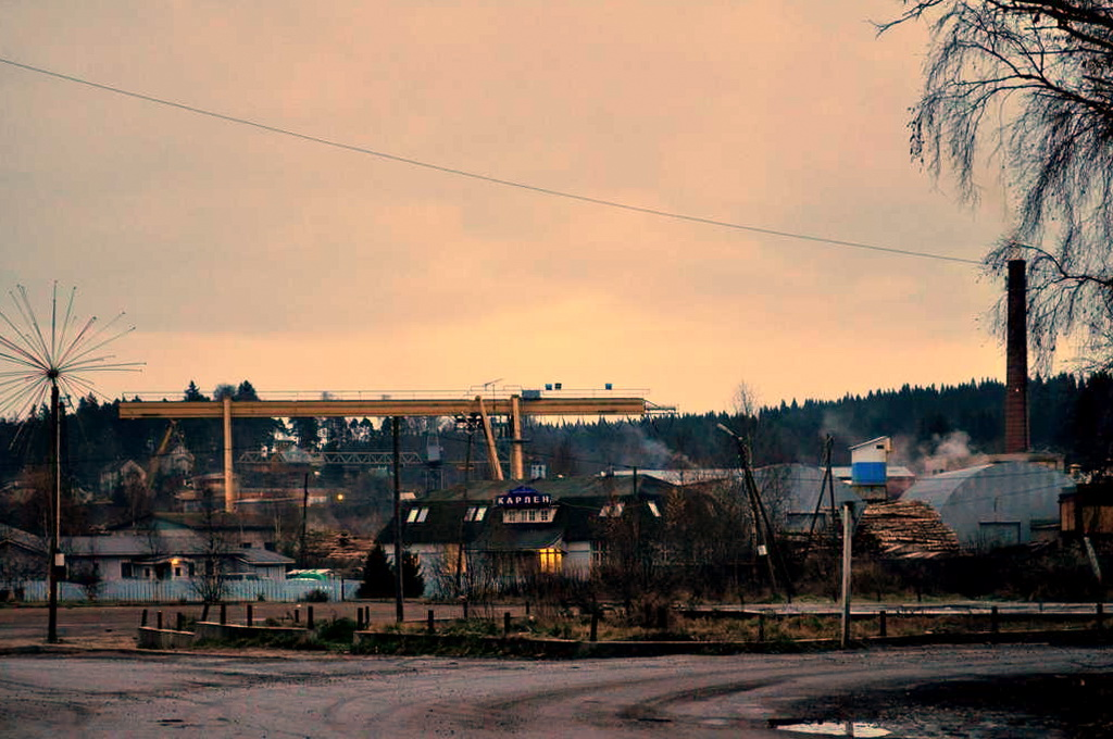 November 6, 2010. The Hotel Karlen (former railway station) and Plywood factory