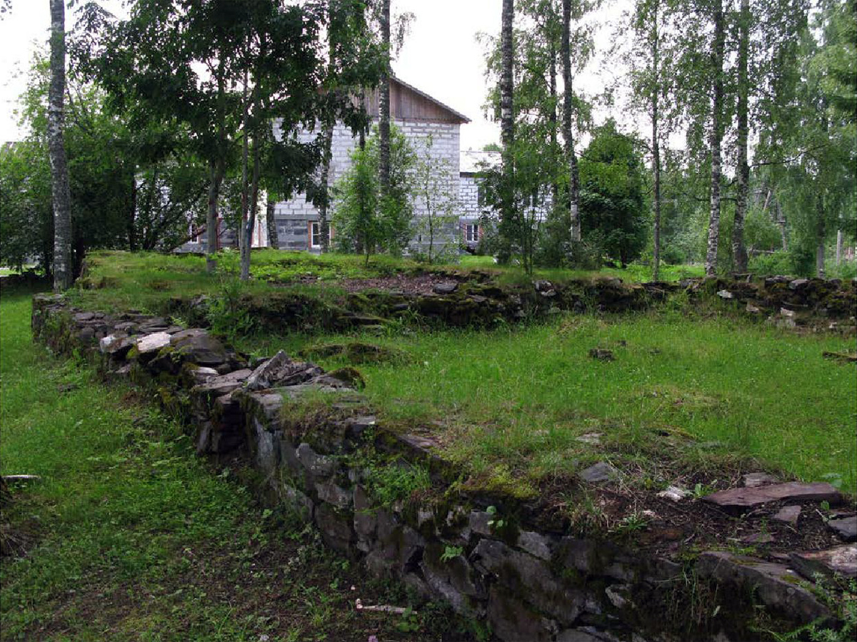 July 2017. Lutheran church in Ruskeala and ruins of the old church