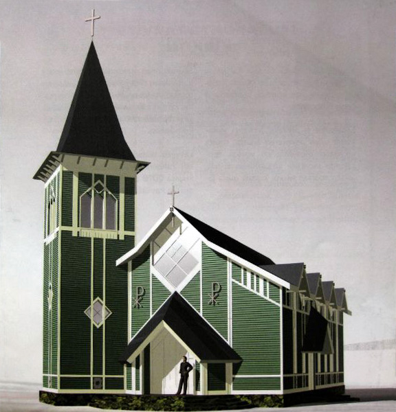 Late 2000's. Architectural model of lutheran church in Läskelä