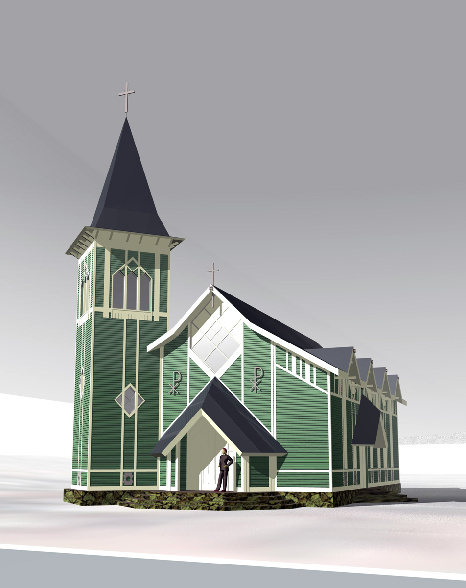 February 2010. Architectural model of lutheran church in Läskelä