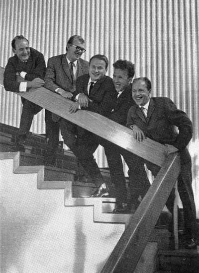 1967. MANOK's singing actors in Finnish Theater. Orvo Björninen, Pauli Rinne, Pekka Mikshijev, William Hall and Viljo Ahvonen