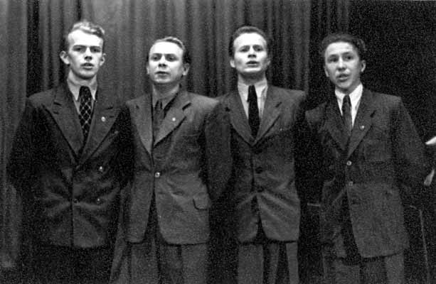 1956. Everything starts from this quartet of theater students. From the left: Pauli Rinne, Grigory Godarev, Pekka Mikshijev, William Hall
