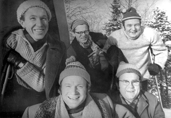 1960's. Together on the ski track. 2nd row from the left: William Hall, Nikolai Samsonov, Orvo Björninen. In front: Pekka Mikshiyev and Andro Lehmus