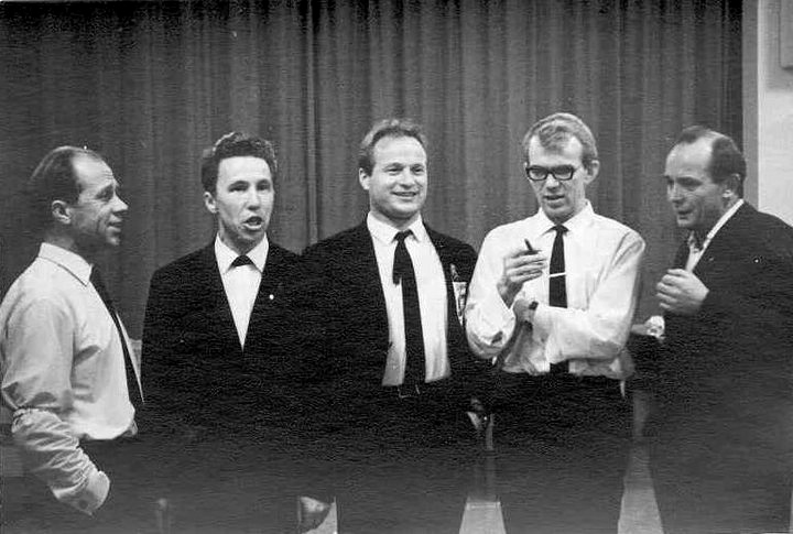 November 1967. Members of Manok - the Petrozavodsk Finnish theater actors - on the tour in Finland: Viljo Ahvonen, William Hall, Pekka Mikshijev, Pauli Rinne and Orvo Björninen
