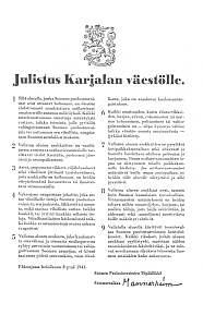 1941. Manifesto to the Karelian people