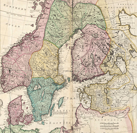 1694. New map of Denmark and Sweden