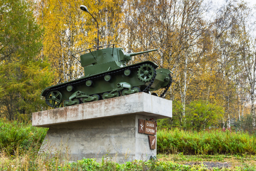 2012. Pitkäranta. Replica of tank T-26