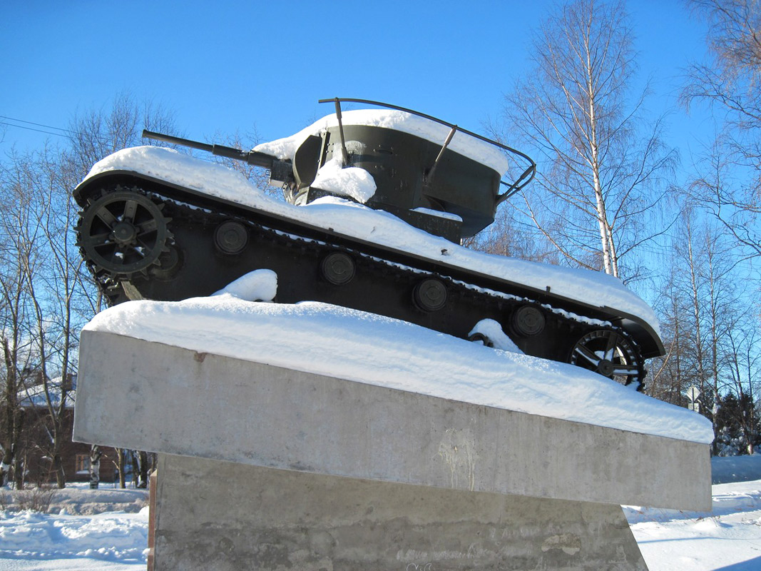 February 20, 2010. Pitkäranta. Replica of tank T-26