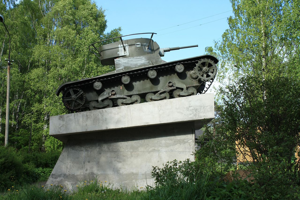 June 5, 2010. Pitkäranta. Replica of tank T-26