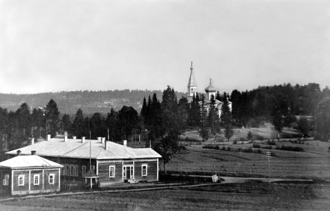 1930's. Kitilä. School and Orthodox Church