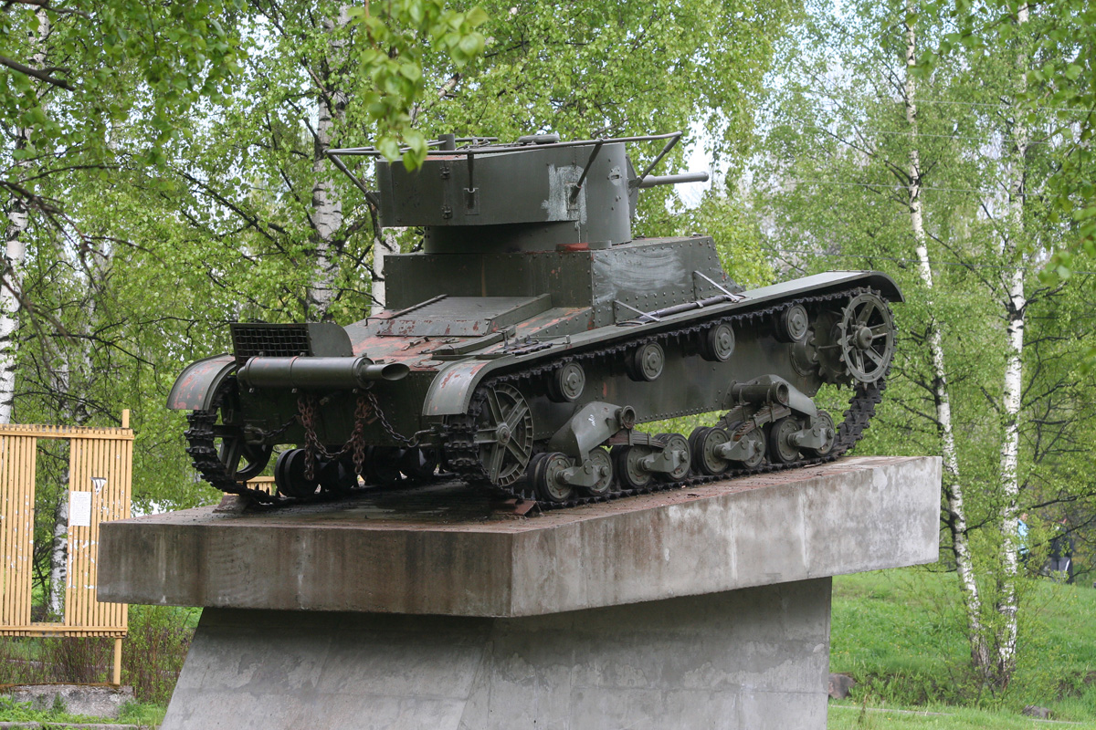 May 30, 2011. Pitkäranta. Replica of tank T-26