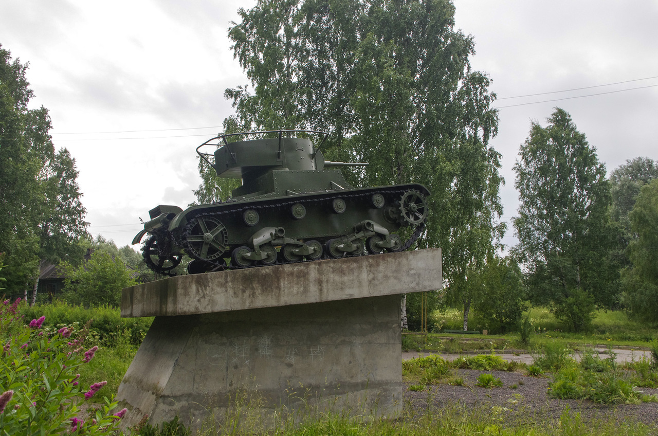 July 6, 2013. Pitkäranta. Replica of tank T-26