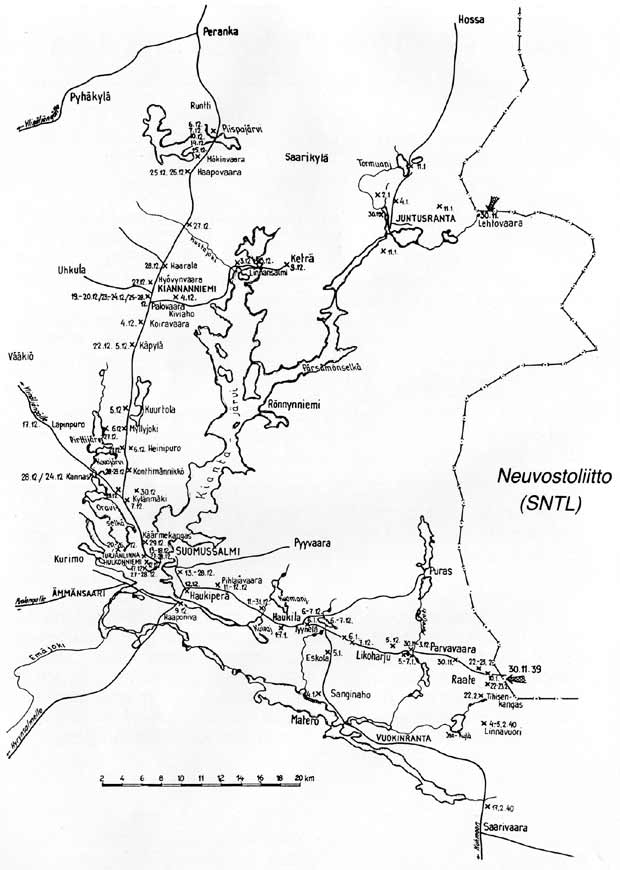 The places of main battles near Suomussalmi during the Winter war