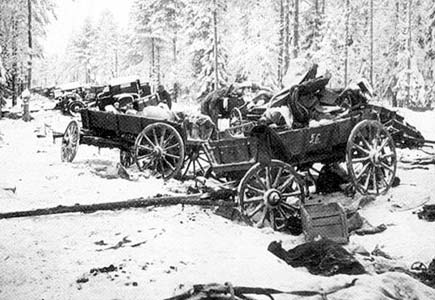 January 1940. The Soviet column destroyed on the Raate road