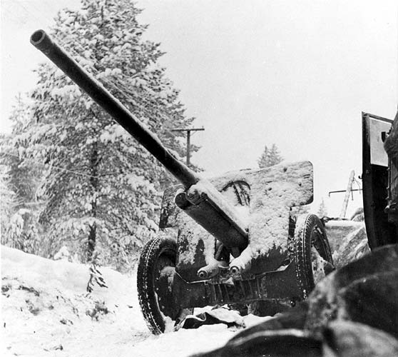 January 1940. The captured Soviet gun on the Raate road