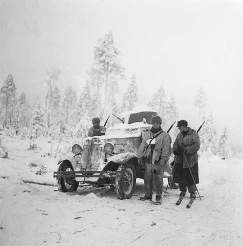 January 1940. Mäntylä. The Soviet armoured car captured on the Raate road