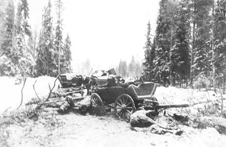 January 1940. The destroyed Red Army column the Raate road