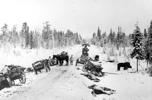January 1940. Suomussalmi. The captured Red Army column