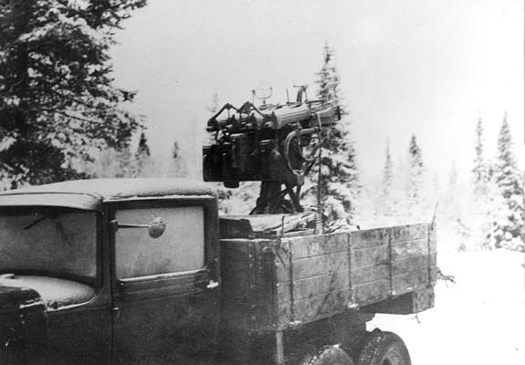 "January 1940. The ""Organ"". Red Army antiaircraft machine-gun"