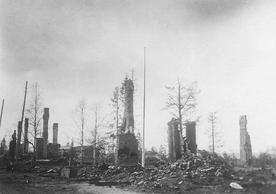 1940. The burned village in the summer of 1940