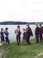 Vazhenvaara. The members of the expedition at the place where the remnants of the 44th division returned to the Soviet territory