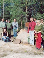 Kalevala (Uhtua) district. The members of the expedition at the Finnish monument about 1 km from the Kis-Kis Lake