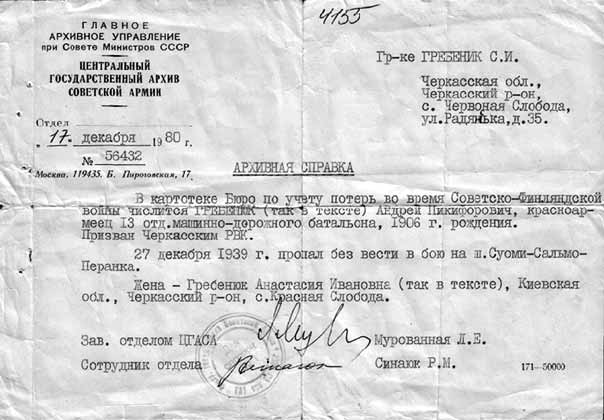 December 17, 1980. The archival note about Andrey Nikiforovich Grebinyk