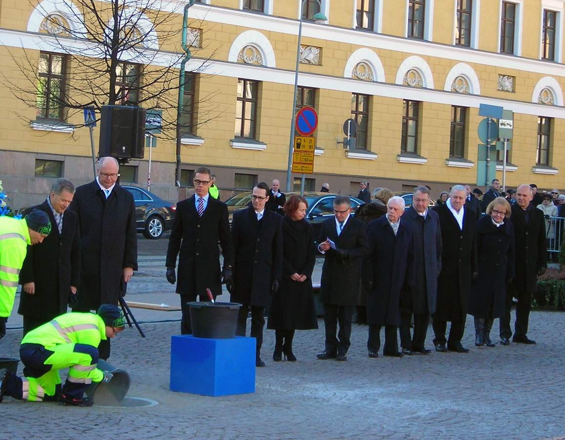 March 13, 2015. Laying the foundation stone of the national memorial to the Winter War