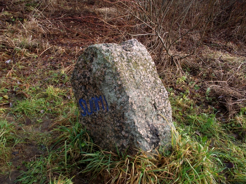 November 10, 2013. The boundary stone in Pogrankondushi village