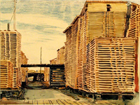 Mid 1930's. Lumber yard