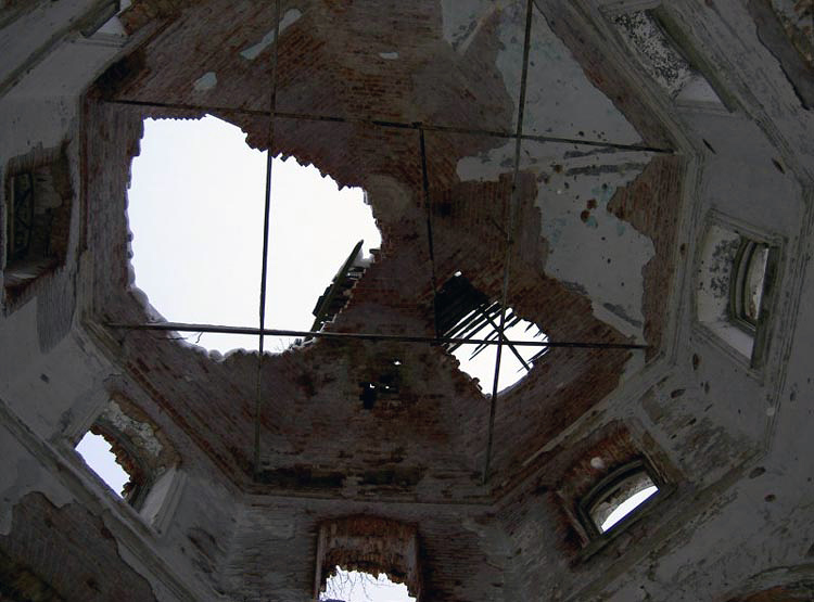 January 2004. Ruins of the orthodox church