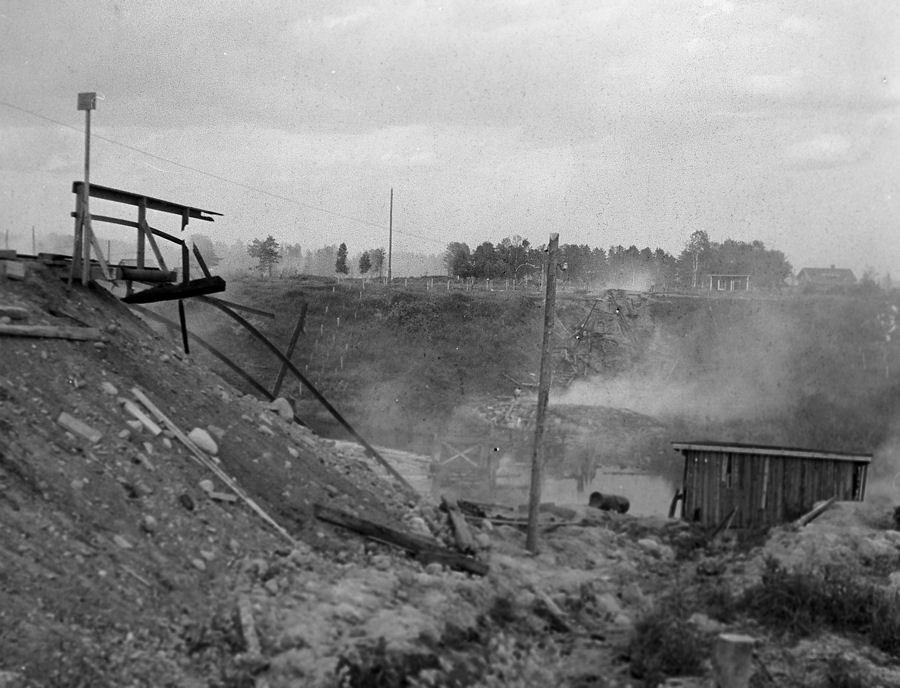 June 1944. Ruins of the railroad bridge