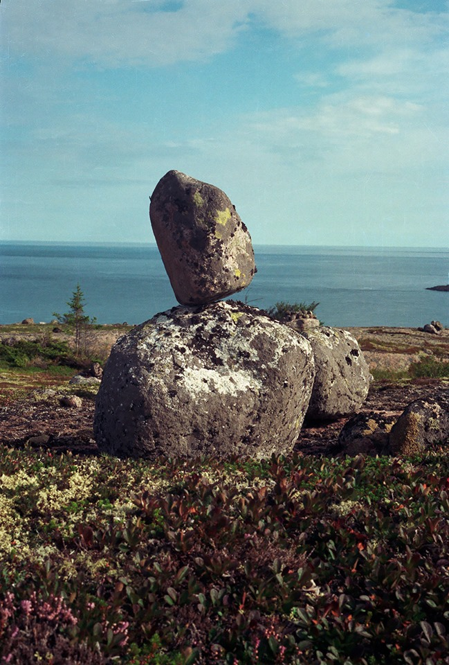 Late 1990's. Saami sacred stones on the Nemetsky Kusov island of the White Sea