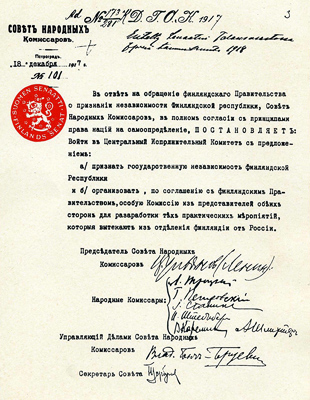 December 31, 1917. The decree of the Council of the People's Commissars on the Republic of Finland