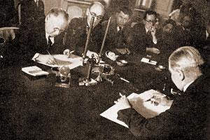 April 7, 1934. Moscow. Signing of the Protocol for Finnish–Soviet treaty of non-aggression and pacific settlement of disputes